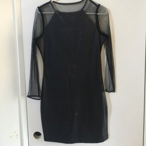 Topshop faux leather and mesh dress
